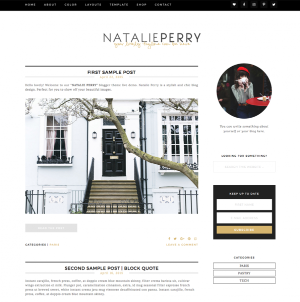 Natalie Perry Feminine Wordpress theme