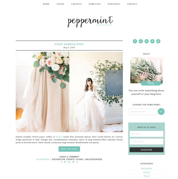 Peppermint Feminine Wordpress theme