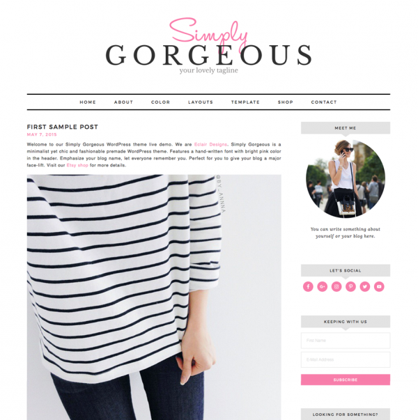 Simply Gorgeous Feminine Wordpress theme