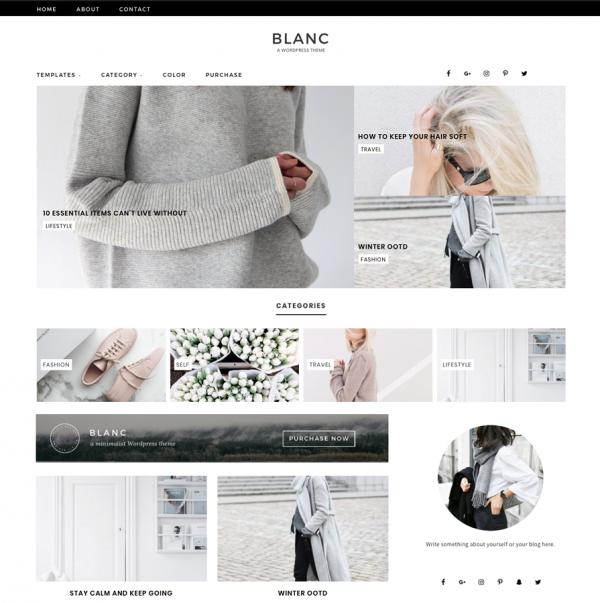 Blanc Feminine Wordpress theme
